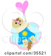 Clipart Illustration Of A Happy Beige Cat Holding Onto A Heart Balloon And Floating In The Sky by bpearth