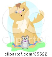 Clipart Illustration Of A Chubby Mouse Standing In Front Of A Friendly Brown Cat by bpearth