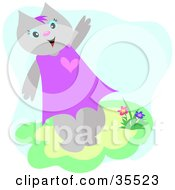 Clipart Illustration Of A Friendly Female Cat Waving And Walking By Flowers by bpearth
