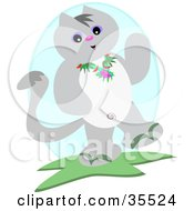 Clipart Illustration Of A Friendly Gray Cat Waving And Wearing A Lei by bpearth