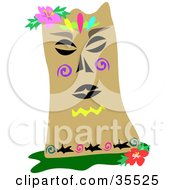 Clipart Illustration Of A Tiki Statue With Hibiscus Flowers And Colorful Shark And Swirl Tattoos by bpearth