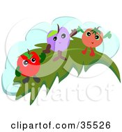 Clipart Illustration Of A Cherry Grape And Apple Waving And Standing On A Leaf In Front Of A Cloud by bpearth