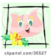 Clipart Illustration Of A Happy Pig Face Bordered By Black Sticks And A Yellow Hibiscus Flower by bpearth