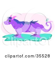 Clipart Illustration Of A Cute Purple Dragon With Pink Horns by bpearth