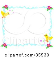 Wavy Blue Border Or Frame With Hibiscus Flowers Easter Eggs And Ducks Or Chicks