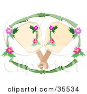 Clipart Illustration Of A Bamboo And Hibiscus Frame Around Two Hand Fans by bpearth