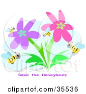 Clipart Illustration Of A Group Of Bees Flying In A Flower Garden With Save The Honeybees Text
