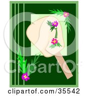 Clipart Illustration Of A Hand Fan With Bamboo And Hibiscus Flower Designs On A Green Background by bpearth