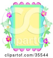 Clipart Illustration Of A Pink Green And Blue Floral Border by bpearth
