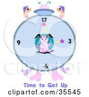 Clipart Illustration Of A Rabbit Alien Clock With Worms And Time To Get Up Text by bpearth