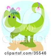Clipart Illustration Of A Cute Green Dragon With Pink Horns by bpearth