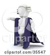 Clipart Illustration Of A 3d White Character Barrister In A Cape And Wig Standing With One Arm Out
