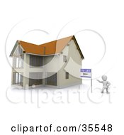 Clipart Illustration Of A 3d White Character Standing Beside A To Let Rental Sign And A New Home