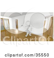 Clipart Illustration Of A 3d White Character Realtor Leading A Tour Through An Empty Home With Wooden Floors
