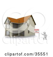Clipart Illustration Of A 3d White Character Standing Beside A Sold Sign And A New Home by KJ Pargeter