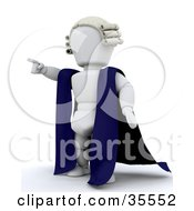 3d White Character Barrister In A Cape And Wig Standing And Pointing His Finger