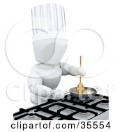 Clipart Illustration Of A 3d White Character Chef In A Tall Hat Mixing Ingredients On A Gas Kitchen Stove by KJ Pargeter