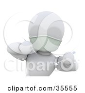 Clipart Illustration Of A 3d White Character Dentist Wearing A Mask And Leaning Forward With A Mouth Mirror And Scraper Or Periodontal Probe by KJ Pargeter