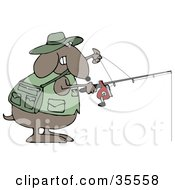 Clipart Illustration Of A Sporty Brown Dog In A Vest Holding A Fishing Pole