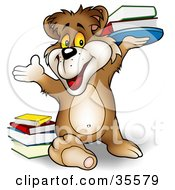 Clipart Illustration Of A Smart Brown Bear Smiling And Holding Up A Stack Of Library Or School Books by dero
