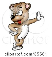 Clipart Illustration Of A Brown Bear With Attitude Leaning Against A Wall