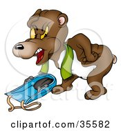 Clipart Illustration Of A Grumpy Bear Rubbing His Head After Falling Of His Sled