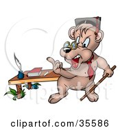 Clipart Illustration Of A Stern Professor Bear Teaching A Class With A Pointer Stick Gesturing With His Finger by dero