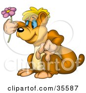 Clipart Illustration Of A Curious Bear Admiring A Purple Spring Flower