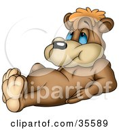 Clipart Illustration Of A Cute And Lazy Brown Bear With Blue Eyes Laying On His Back Propped Up On His Elbows