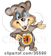 Clipart Illustration Of A Blue Eyed Bear Pointing To A Target On His Belly Symbolizing His Goal In Life Getting Food