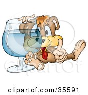 Clipart Illustration Of A Drunk Bear Resting His Arm On A Large Cocktail Glass
