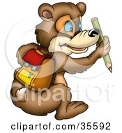 Clipart Illustration Of A Blue Eyed Bear Wearing A Backpack And Holding A Green Colored Pencil