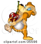 Clipart Illustration Of A Bear Carrying A Heavy Cherry