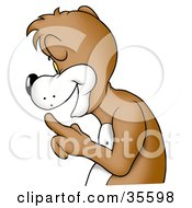 Clipart Illustration Of A Friendly Bear In Profile Gesturing To Be Quiet by dero
