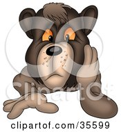 Grouchy Bear Resting His Cheek On His Hand