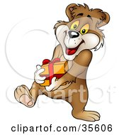 Clipart Illustration Of A Giving Bear Walking With A Birthday Or Christmas Gift In Hand