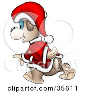 Clipart Illustration Of A Blue Eyed Christmas Santa Bear Walking Away