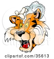 Clipart Illustration Of A Tiger Washing His Mane With Shampoo