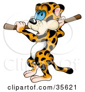Clipart Illustration Of A Nervous Leopard Eying His Goal While Preparing To Do The Pole Vault
