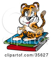 Tired Leopard Student Sitting Atop A Stack Of Folders Of Homework