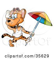 Friendly Leopard In A Tank Top Running With A Beach Umbrella