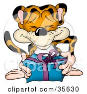 Clipart Illustration Of A Friendly Leopard Giving A Blue And Purple Present