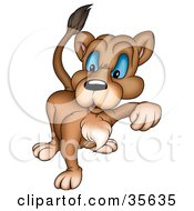Clipart Illustration Of A Mean Blue Eyed Lioness Walking Forward