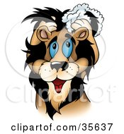 Clipart Illustration Of A Cute Blue Eyed Male Lion Washing His Mane With Shampoo