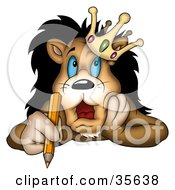 Clipart Illustration Of A Stressed Lion King In A Crown Holding A Pencil And Touching His Face