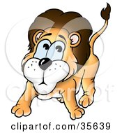Clipart Illustration Of A Scared Or Nervous Little Lion