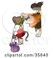 Clipart Illustration Of A Mean Lion Bullying A Monkey Holding Him Up By Suspenders by dero
