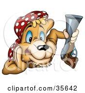 Alert Cougar Pirate Or Hunter Wearing A Bandana And Holding A Gun