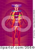 Clipart Illustration Of A Red And Orange Man Meditating With Glowing Rings Chakras On A Purple Grid Background