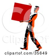Clipart Illustration Of A Strong Man Carrying And Delivering A Heavy Box